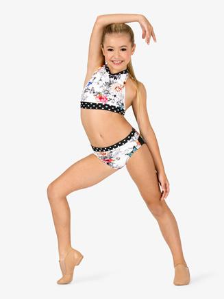 Girls Polka Dot Floral Dance Briefs - Style No DB304C