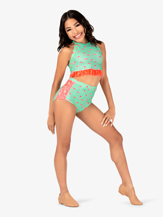 Girls Flamingo Lace Dance Briefs - Style No DB310C