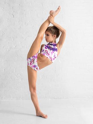 Girls Purple Flower Lace Dance Briefs - Style No DB316C