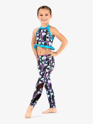 Girls Neon Flowers Dance Leggings - Style No DB320C