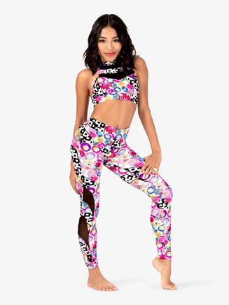 Girls Neon Circles Mesh Dance Leggings - Style No DB326C