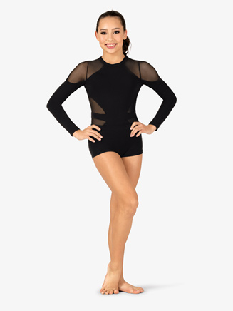 Womens Performance Mesh Insert Long Sleeve Thong Bodysuit - Style No DS1971Ax