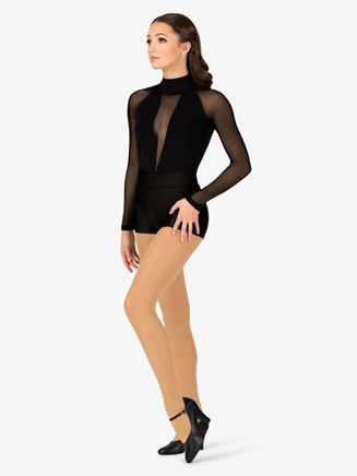 Womens Performance Plunging Mesh Long Sleeve Thong Bodysuit - Style No DS2912