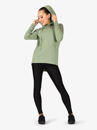 Womens Mesh Insert Long Sleeve Dance Sweater - Style No DS5133