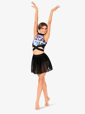 Womens Performance Ribbon Trimmed Mesh Skirt - Style No DSJ1121Ax