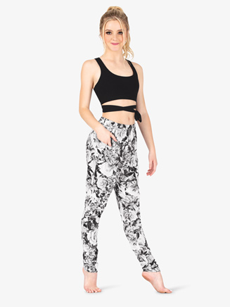 Womens Floral Print Fitness Pants - Style No DSJ1439