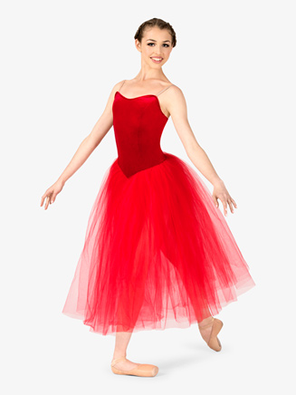 Womens Performance Camisole Velvet Tutu Dress - Style No EL101