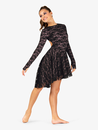 Womens Lace Long Sleeve Asymmetrical Lyrical Dress - Style No EL102