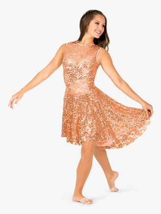 Womens Performance Asymmetrical Sequined Tank Dress - Style No EL104