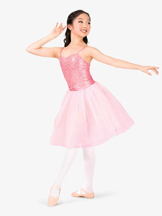 Girls Sequined Lace Camisole Performance Tutu Dress - Style No EL105Cx