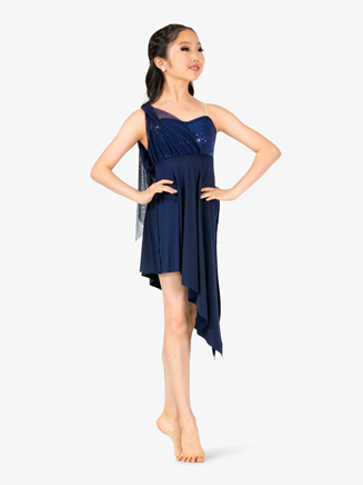 Girls Draped Asymmetrical Bodice Camisole Performance Dress - Style No EL117C