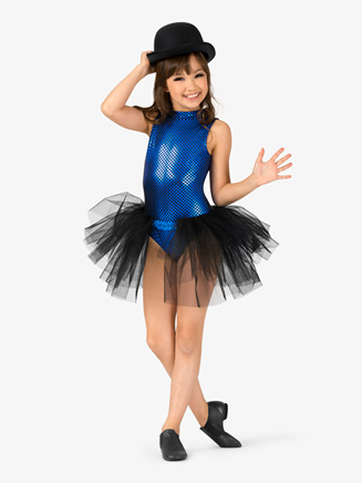 "Girls ""Blue Bayou"" Checkered Bustled Performance Leotard - Style No EL122C"