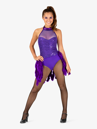 Girls Performance Feather Boa Bustled Halter Leotard - Style No EL123C