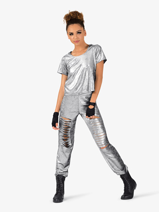 Womens Distressed Metallic 2-Piece Hip Hop Set - Style No EL131