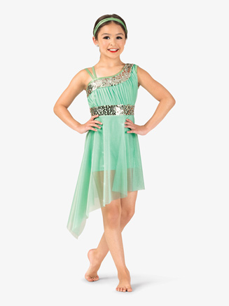 Girls Performance Asymmetrical Mesh Dress - Style No EL139C