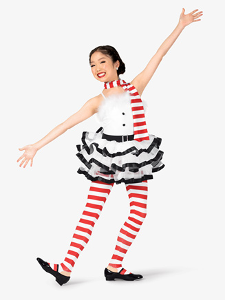 """Girls """"Frosty"""" Striped Character Dance Costume Set - Style No EL141C"""