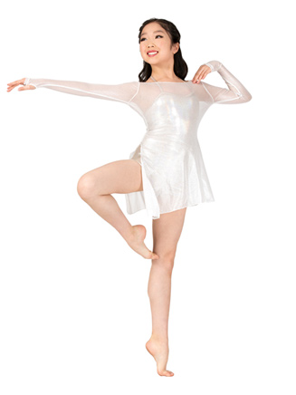 Girls 2-Piece Mesh Dress and Metallic Shorty Unitard Set - Style No EL146C