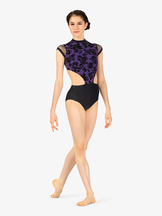 Womens Burnout Velvet Mock Neck Short Sleeve Leotard - Style No ELA1