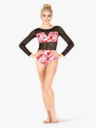 Womens Floral Print Mesh Long Sleeve Leotard - Style No ELA20