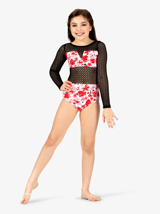 Girls Floral Print Mesh Long Sleeve Leotard - Style No ELA20C