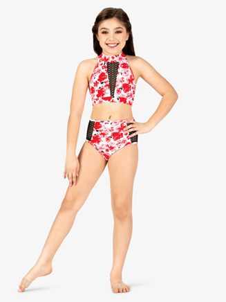 Girls Floral Print Mesh Dance Briefs - Style No ELA22C
