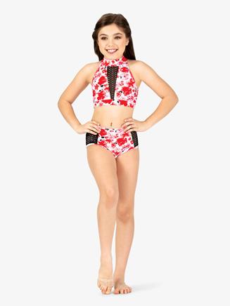 Girls Floral Print Halter Dance Bra Top - Style No ELA27C