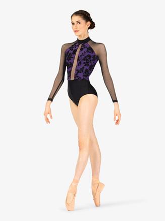 Womens Burnout Velvet Back Cutout Long Sleeve Leotard - Style No ELA2