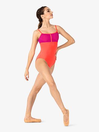 Womens Two-Tone Mesh Panel Camisole Leotard - Style No ELA47