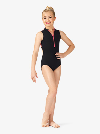 Girls Two-Tone Mesh Back Tank Leotard - Style No ELA50C
