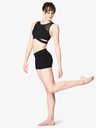 Womens Diamond Mesh Dance Shorts - Style No FR5048