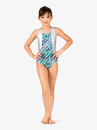 "Girls Gymnastics ""Splatter Silver Foil"" Tank Leotard - Style No FS6687Cx"