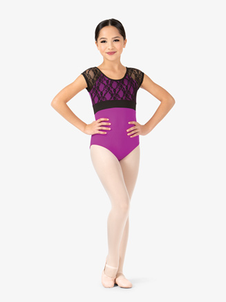 Girls Floral Lace Cap Sleeve Leotard - Style No FS6690C