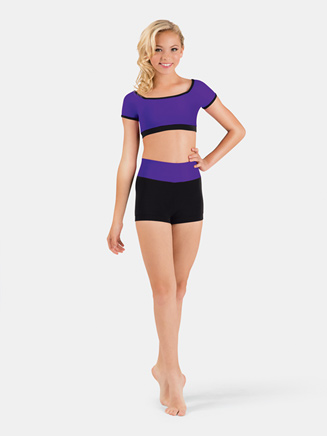 Girls Banded Color Block Dance Short - Style No FW134