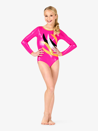 Girls Gymnastics Contrast Spliced Long Sleeve Leotard - Style No G675Cx