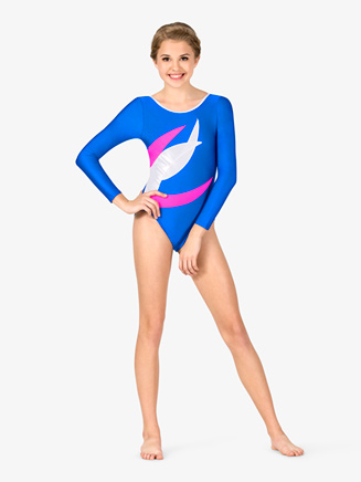 Womens Gymnastics Spliced Colorblock Long Sleeve Leotard - Style No G676x