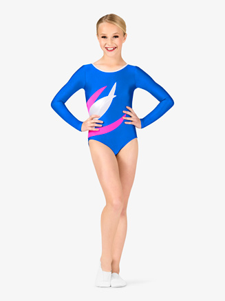 Girls Gymnastics Spliced Colorblock Long Sleeve Leotard - Style No G676Cx