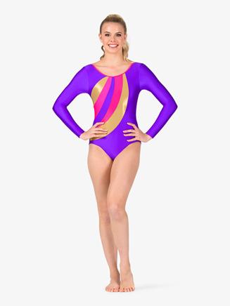 Womens Gymnastics Spliced Print Long Sleeve Leotard - Style No G677x