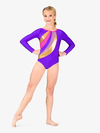 Girls Gymnastics Spliced Print Long Sleeve Leotard - Style No G677Cx