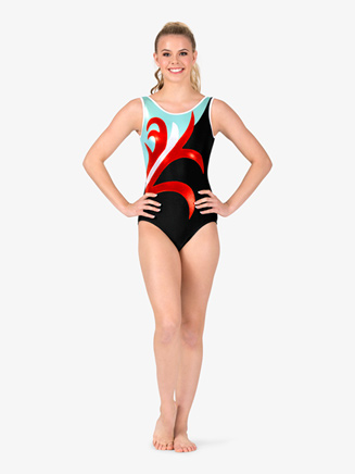 Womens Gymnastics Spliced Pattern Tank Leotard - Style No G678x