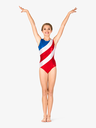 Womens Gymnastics Diagonal Patriotic Print Tank Leotard - Style No G686x