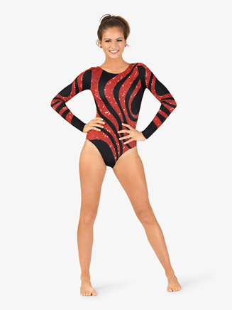 Womens Gymnastics Long Sleeve Printed Sequined Swirl Leotard - Style No G711