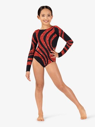 Girls Gymnastics Long Sleeve Printed Sequined Swirl Leotard - Style No G711C