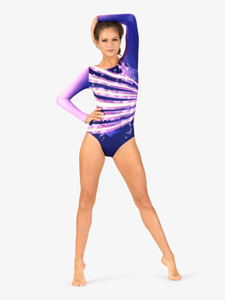 Womens Gymnastics Long Sleeve Printed Sparkle Ombre Leotard - Style No G712