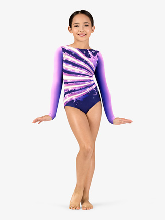Girls Gymnastics Long Sleeve Printed Sparkle Ombre Leotard - Style No G712C