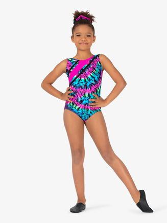 Girls Gymnastics Tie-Dye Color Block Tank Leotard - Style No G726C