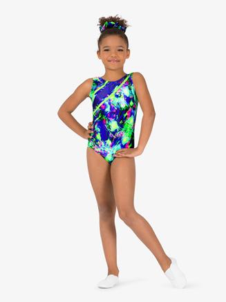 Girls Gymnastics Splatter Print Color Block Tank Leotard - Style No G729C