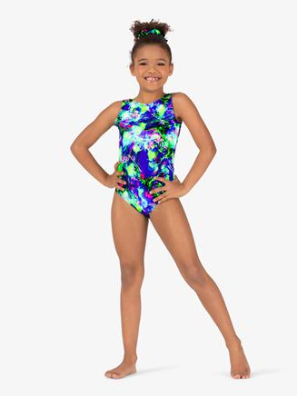 Girls Gymnastics Splatter Print Tank Leotard - Style No G730C