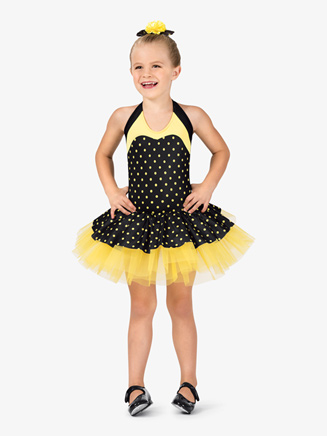 Girls Dual-Tone Dotted Halter Costume Tutu Dress - Style No GRA106