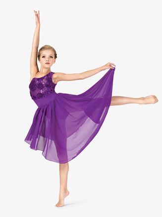 Girls Flower Detail Asymmetrical Performance Lyrical Dress - Style No GRA107