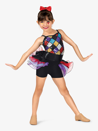 Girls Diamond Sequin Camisole Costume Shorty Unitard - Style No GRA108